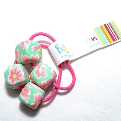 Élastique à cheveux cube rose-vert