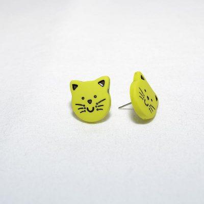 Boucle d'oreille enfant chat vert