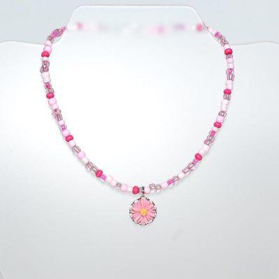 Collier enfant fille marguerite rose