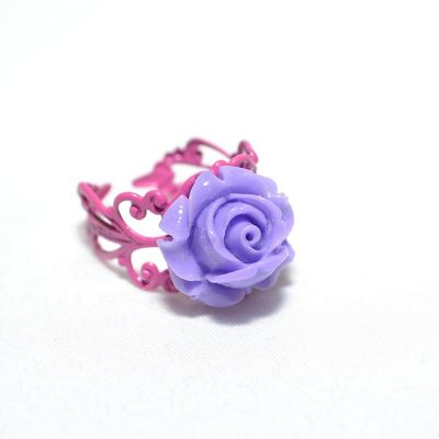 Bague junior fille rose lilas
