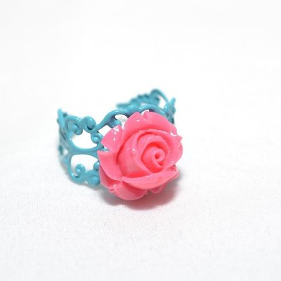 Bague junior fille rose turquoise