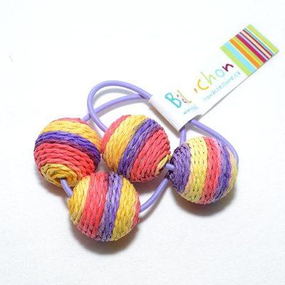 Élastique à cheveux corail-violet